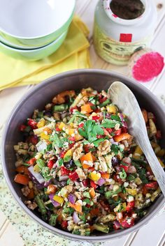Full Spectrum Veggie Salad. The only thing I would change would be to eliminate the wax beans and walnuts. Everything else sounds delicious!
