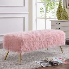 Meridian Furniture Tiffany Bench Pink Fur on Gold Stainless Legs Cute Room Decor, Teen Room Decor, Room Decor Bedroom, Gold Room Decor, Bedroom Ideas, My New Room, My Room, Girl Room, Aesthetic Bedroom