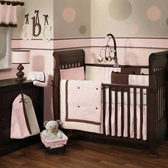Pink and Brown Baby Girl Nursery 6pc Crib Bedding Set w/ Stripes & Polka Dots