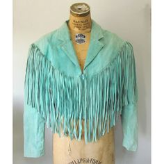 Vintage Suede Fringe Motorcycle Jacket / Aqua by EstherWooVintage, $65.00