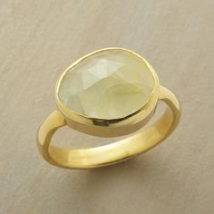 NEW LEAF RING--The fresh green of faceted prehnite inspires hope and renewal in this 22kt gold vermeil and prehnite ring. Whole sizes 5 to 9.