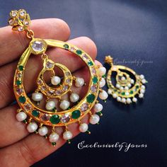 Traditional Nizam Jewellery - real pearls with semi precious Emerald stones. Carry the tradition ever. Make it yours @ ExclusivelyYours