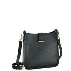 Black Elle Cross-body | Pebble Grain  Leather | GiGi New York