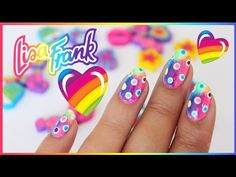 Lisa Frank Rainbow Nail Art (a sponge gradient using neon colors and then colored dots n a white background fantastic! Lisa Frank, Rainbow Nail Art, Heart Nail Art, Nail Art Videos, Beautiful Nail Art, Flower Nails, Nail Tutorials, Perfect Nails, Neon Colors