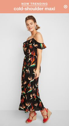 The best way to get dressed up this season: a floral cold-shoulder maxi dress. Show off your long limbs or add some extra height with colorful wedges and pull your hair back to highlight a cool pair of statement earrings. The off-the-shoulder silhouette is elegant and on-trend, and this dress's tie waist helps create definition for your curves, so you'll be perfectly prepped for weddings or dinner dates all summer.