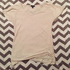 Talbots cream shirt Cream talbots shirt. Good condition. One ribbon at the bottom is coming unraveled- see picture Talbots Tops Blouses