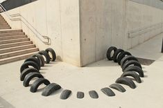 Pneumàtic's Salvaged Tire Installations Playfully Interact With Barcelona's Urban Architecture  http://www.thisiscolossal.com/2015/05/salvaged-tire-installations-pneumatic/