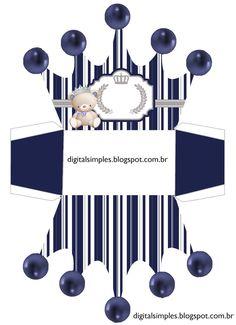 Osito Príncipe: Caja con Forma de Corona para Imprimir Gratis.