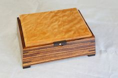 Handmade Zebrawood Box w/Quilted Maple Top & by KevinKapinArtisan