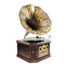 Vintage Bluetooth Turntable System, Gramophone/Phonograph Style with CD, Cassette, AM/FM Radio, Vinyl-to-USB Computer Recording Ability