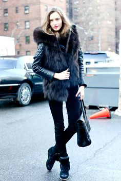 #isabelmarant #sneakers #boots #shoes #ukisabelmarant FOX FUR VEST ON LEATHER JACKET Perfectly matching with Isabel Marant sneakers black #ISABEL MARANT #SHOES