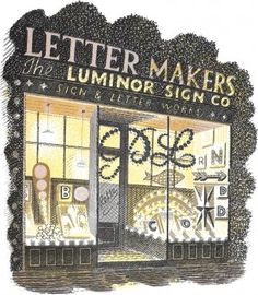 Eric Ravilious Letter Maker, Lithograph, framed, Modern British Paintings and Prints - The Scottish Gallery, Edinburgh - Contemporary Art Since 1842 Letter Maker, Children's Book Illustration, Book Illustrations, Wood Engraving, Mellow Yellow, Gravure, Limited Edition Prints, Graphic Art, Graphic Design
