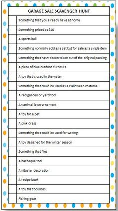 garage sale scavenger hunt free printable printable games for kidsfree - Free Printable Games For Kids