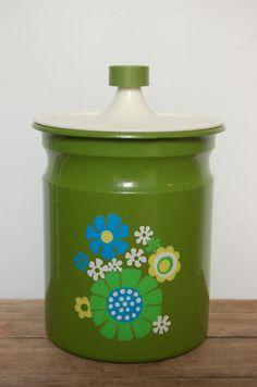 Vintage Kromex Canister Avocado Green Kitchen by JunkyardElves