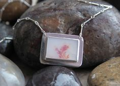 Sterling Silver Dendritic Agate Necklace by KMallaby on Etsy