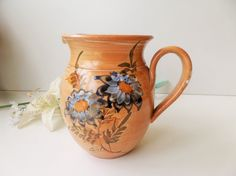 Vintage Vallauris Brown Blue Provence Water Jug With Ice Tank & Sunflowers by pentyofamelie on Gourmly