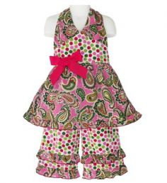 Girls Boutique Paisley & Polka Dot Halter & Capri pants Clothing Set $27.99