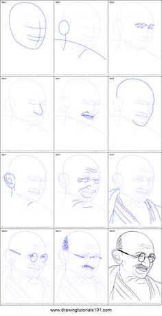 How to Draw Mahatma Gandhi printable step by step drawing sheet in gandhiji drawing for kids step by step collection - ClipartXtras Easy Drawings Sketches, Pencil Art Drawings, Cool Art Drawings, Easy Drawing Steps, Step By Step Drawing, Pencil Photo, Drawing Competition, Drawing Sheet, Poster Drawing
