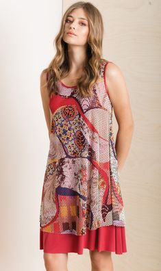 Puzzle pieces in a prismatic illusion of a town in the South of France is this intriguing midi dress in abstract art design! Spring Summer 2018, Puzzle Pieces, Illusions, Vibrant Colors, Curves, Abstract Art, Dressing, France, Summer Dresses