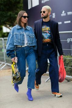 Paris Fashion Week Slides Day 6 Alice Barbier, Jean Sebastien - The Cut Fashion Couple, Fashion Week, Look Fashion, Paris Fashion, Jacket Outfit, Denim Outfit, Amo Jeans, How To Have Style, Look Jean