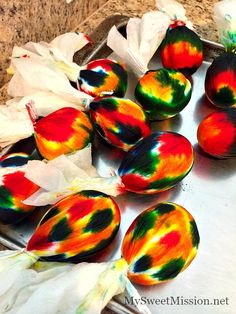 tie-dye-easter-eggs Easter Crafts For Kids, Easter Decor, Easter Ideas, Kid Crafts, Tie Dyed Easter Eggs, Yellow Foods, How To Tie Dye, Coloring Easter Eggs, Easter Party