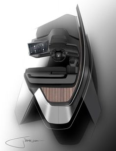 Peugeot Puts Its i-Cockpit In A Boat's Helm Station Concept Peugeot designed the Sea Drive concept for Beneteau using the same i-Cockpit principles it's applied to its hatchbacks and crossovers. Car Interior Sketch, Car Interior Design, Interior Design Sketches, Industrial Design Sketch, Car Design Sketch, Interior Concept, Automotive Design, Car Sketch, Yacht Design