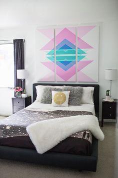 Geometric Art Headboard Panels (click through for DIY details!)