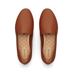 Women's Flat Material: leather No-slip rubber sole for inside/outside wear 10 mm heel | Birdies The Starling - Cognac Leather Flats in Leather
