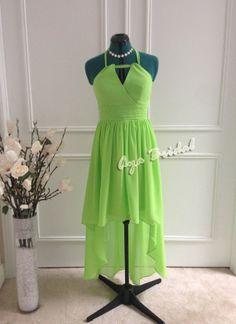 Lime Green hi-low hem Bridal / Bridesmaid Dress / Party chiffon knee length Dress on Etsy, $85.00