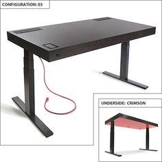 Stir Kinetic Desk - so gorgeous and functional - espresso with crimson underside