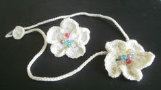 Pearl white crochet flower choker and ring w/ faceted crystal beads