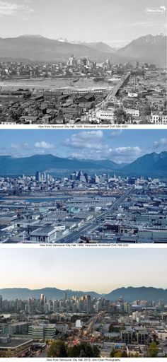 Then and Now From Vancouver City Hall - Three photos taken in the and 2015 all featuring Downtown Vancouver and taken from City Hall Richmond Vancouver, Vancouver Bc Canada, Vancouver British Columbia, Downtown Vancouver, Montreal Canada, O Canada, Canada Travel, Alberta Canada, West Coast Canada