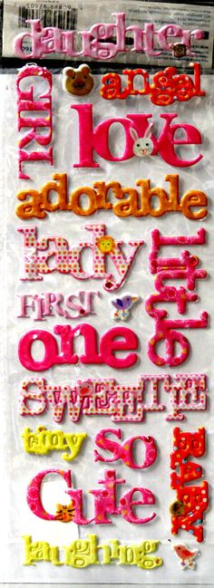 Momenta Baby Girl Dimensional Puffy Words Stickers are available at Scrapbookfare.