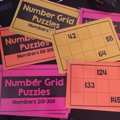 Number Grid Puzzles for Number Sense Number Puzzles, Math Numbers, Grid Puzzles, Number Grid, Fifth Grade, Number Sense, Math Lessons, Math Centers, Math Activities