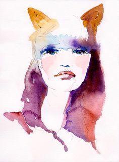 Cat Woman | Cate Parr #watercolor  #illustration