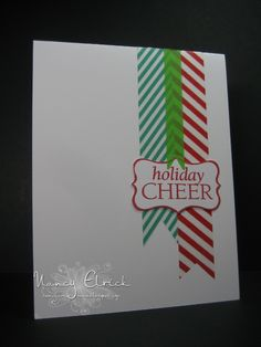 christmas cards using washi tape | used some Christmas coloured Washi Tape on my card.... and decided I ...