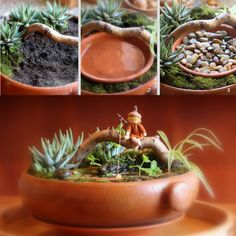 Daily Colours : fairies---here are some darling fairy gardens and scenes. There is also a nice tutorial on this site for making these fairies/wee folk using beads, felt and pipe cleaners