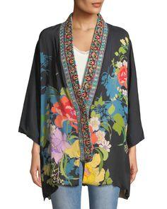 Image 4 of Johnny Was Petite Fuskha Floral-Print Kimono Floral Kimono Outfit, Kimono Sewing Pattern, Kimono Japan, Kimono Design, Kimono Jacket, Johnny Was, Japanese Fashion, Floral Prints, Plus Size