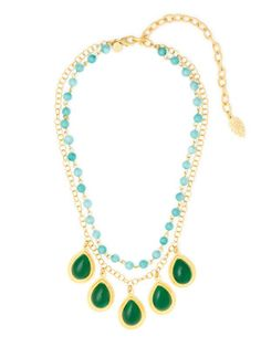 David Aubrey Gold, Dyed Jade, & Glass Double Row Necklace