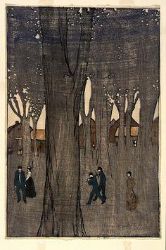 (Figures among Trees) by B. J. O. Nordfeldt, 1906.