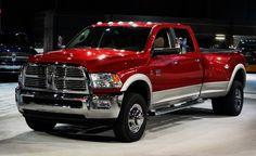 One-ton, red, 4-door, dually, diesel, Dodge Ram pickup
