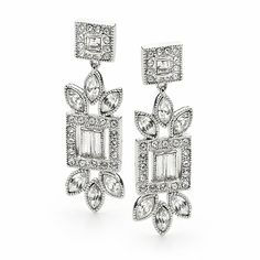The Amelie Swarovski Bridal Earrings are sophisticated and striking.    Marquis and baguetteshaped cubic zirconia and genuine Swarovski crystals are set in a unique drop design.    Plated in rhodium (part of the platinum family of metals) for a darker antique silver finish and featuring sterling silver pins.    Width 1.2 cm and Length 4.0 cm.