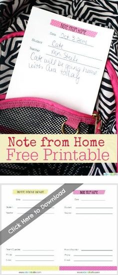 Free Printable Note From Home | Back to School | Printables for Kids | TodaysCreativeblog.net