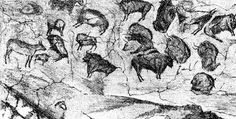 Stencil of art in Altamira Cave of Spain created between 18,500 and 14,000 years ago during the Upper Paleolithic