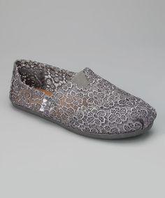 Loving this Gray Crochet Slip-On Shoe on #zulily! #zulilyfinds