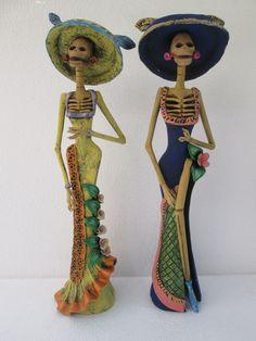 2 Catrina Set Day of The Dead Mexico Mexican Handmade Folk Art Clay Wholesale | eBay