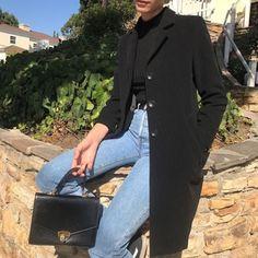 Light wash denim jeans. Black jackets.