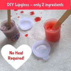 DIY lip gloss only two ingredients - no heating required! Great as a tween/teen girl birthday party activity and loot bag idea. Awesome craft idea for kids. www.parentclub.ca