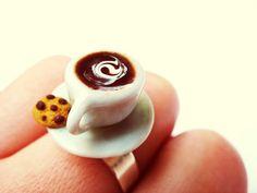 coffee ring,handmade polymer clay/porcelain,kawaii,miniature food,kawaii jewelry,polymer clay food,coffee cup