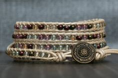 wrap bracelet pastel glass beads on pearl white by CorvusDesign